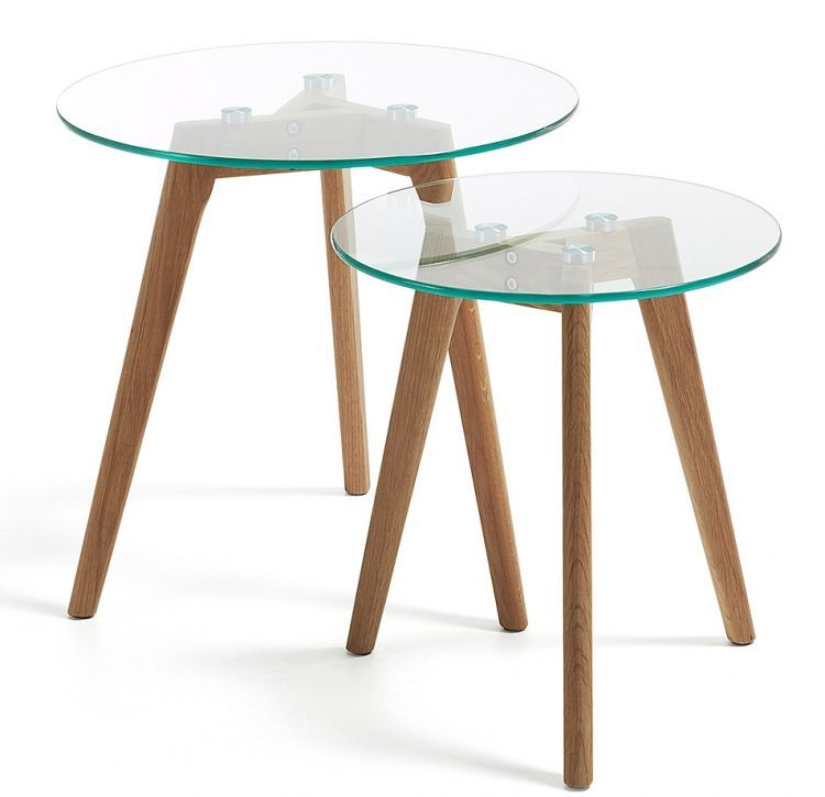 Soninis Staliukas Brick 2 Vnt J Coffee Table Glass Nesting Tables Glass Top Coffee Table