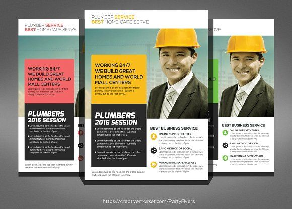 Plumbers Flyer Template  by Party Flyers on @creativemarket
