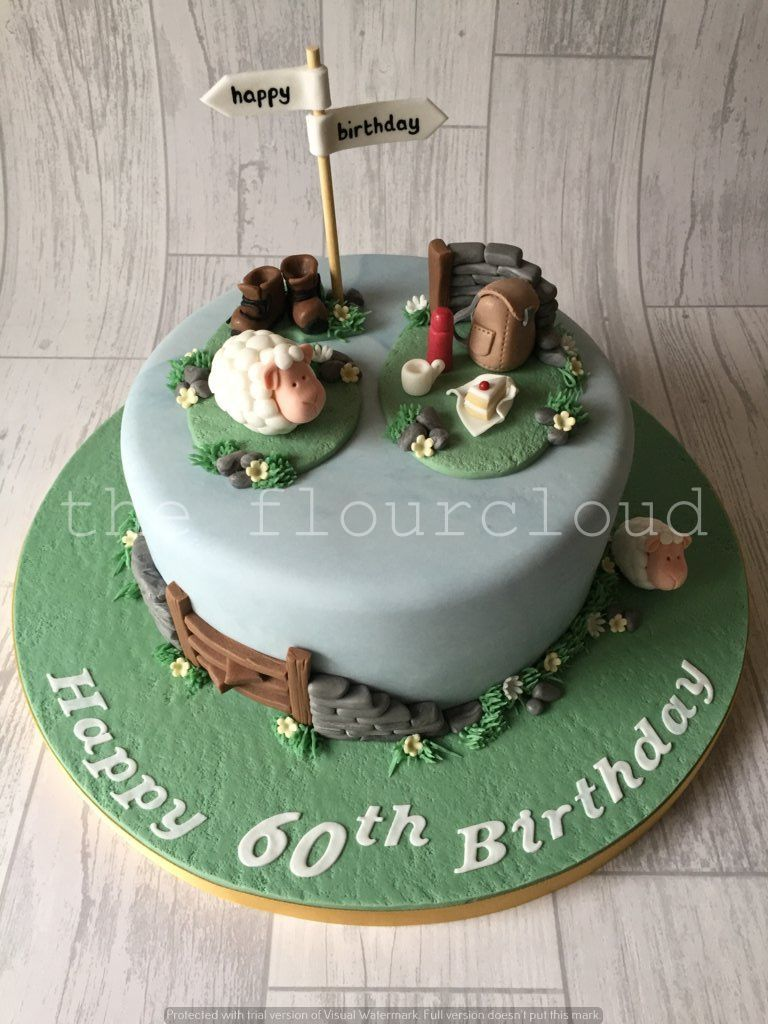 A birthday cake for a lady who loves country walks and sheep