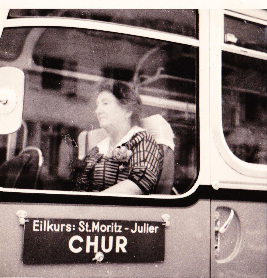 "Vintage 1960s B&W Photo Lady on Bus St. Moritz Switzerland 3-1/4"" x 3-1/4"""