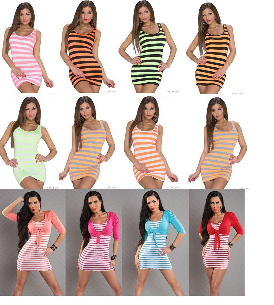 Details zu Minikleid Longshirt Party Kleid Streifen Neon Longtop ...