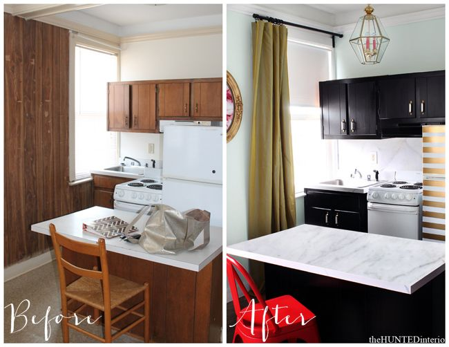 Amazing before & after of a small paneled kitchen.  The power of paint, color & a little duct tape!