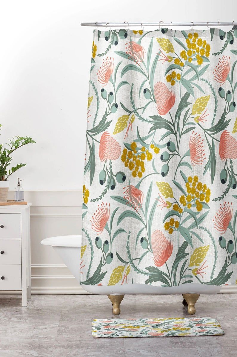 Boho Shower Curtain Floral Shower Curtain Fabric Shower