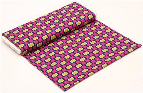 purple-pink retro sixties pattern fabric by Michael Miller 3