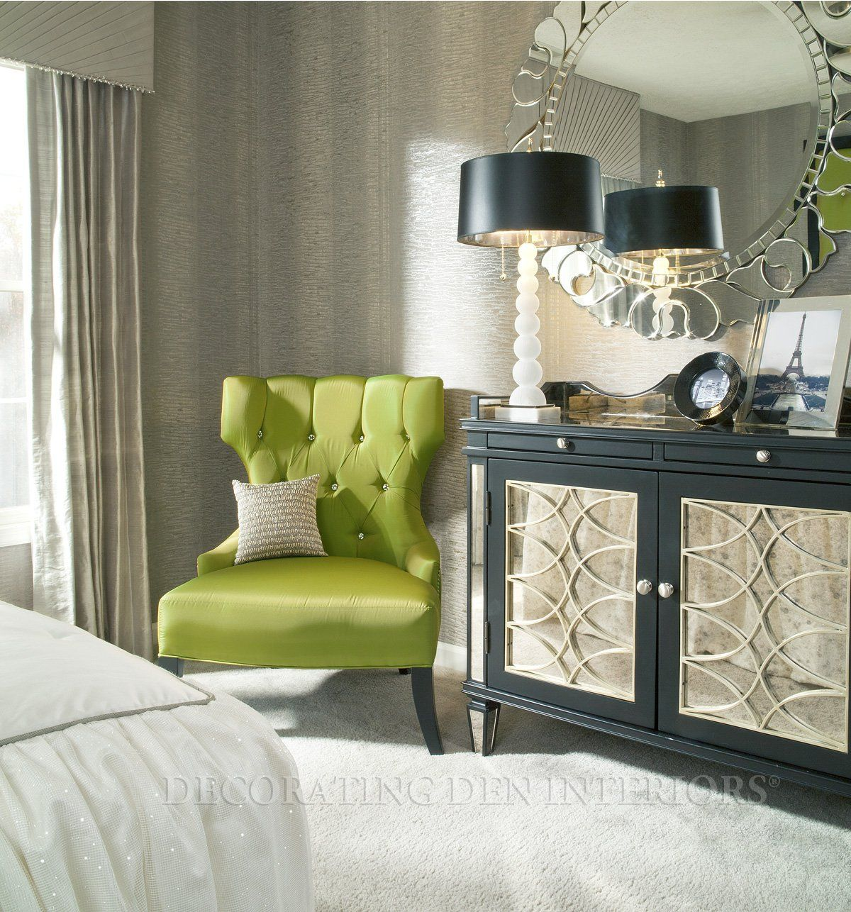 lime green tufted boudoir chair_silver round mirror_modern