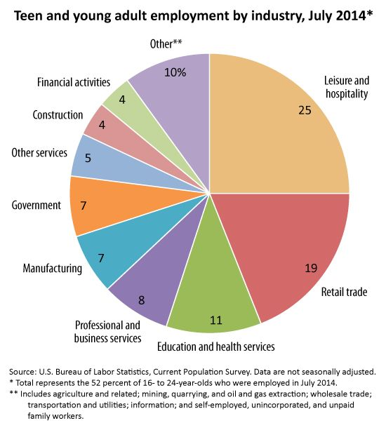 Pie Chart Showing Teen And Young Adult Employment By