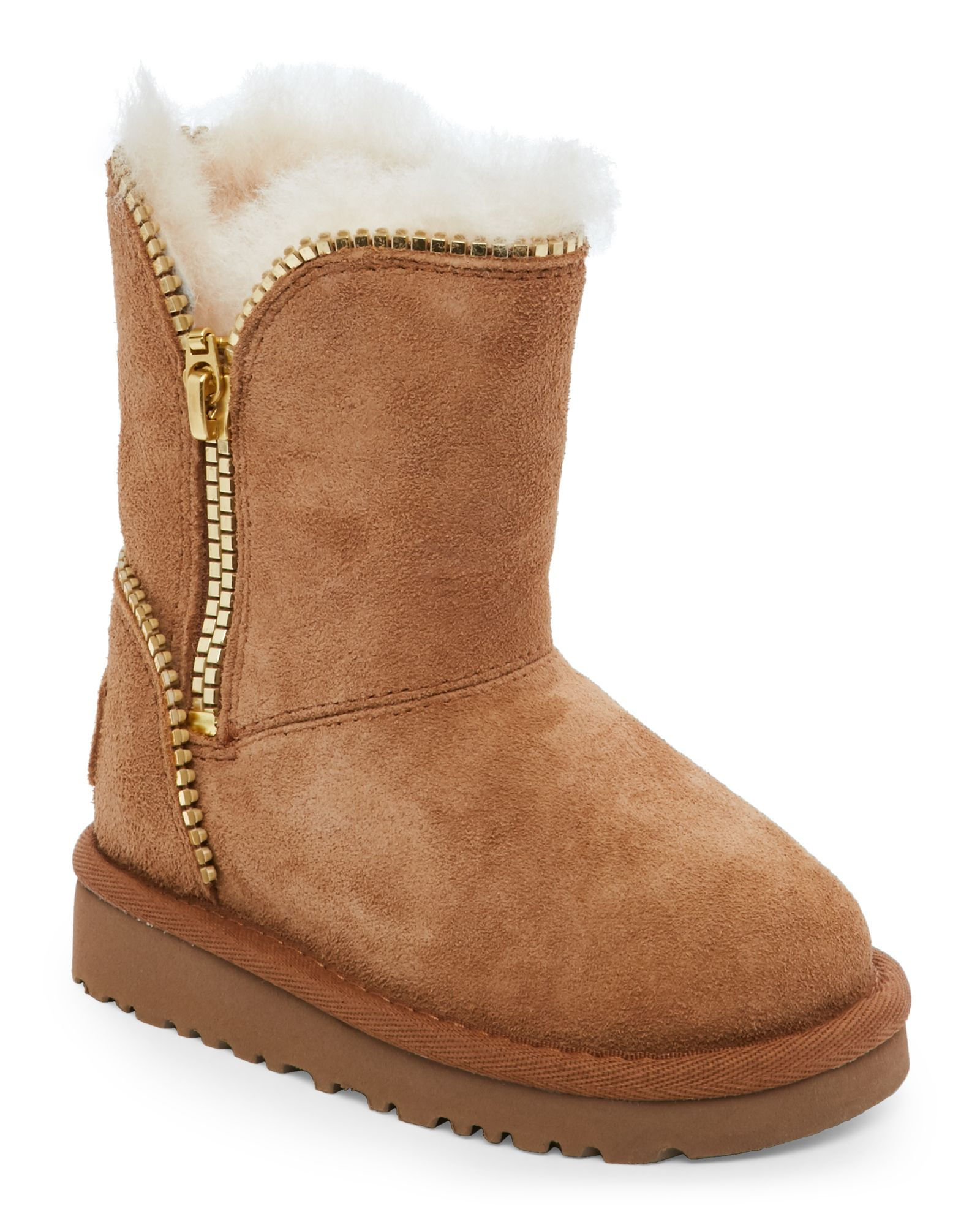 Ugg Australia (Toddler Girls) Chestnut Florence Zip-Accented Suede Boots