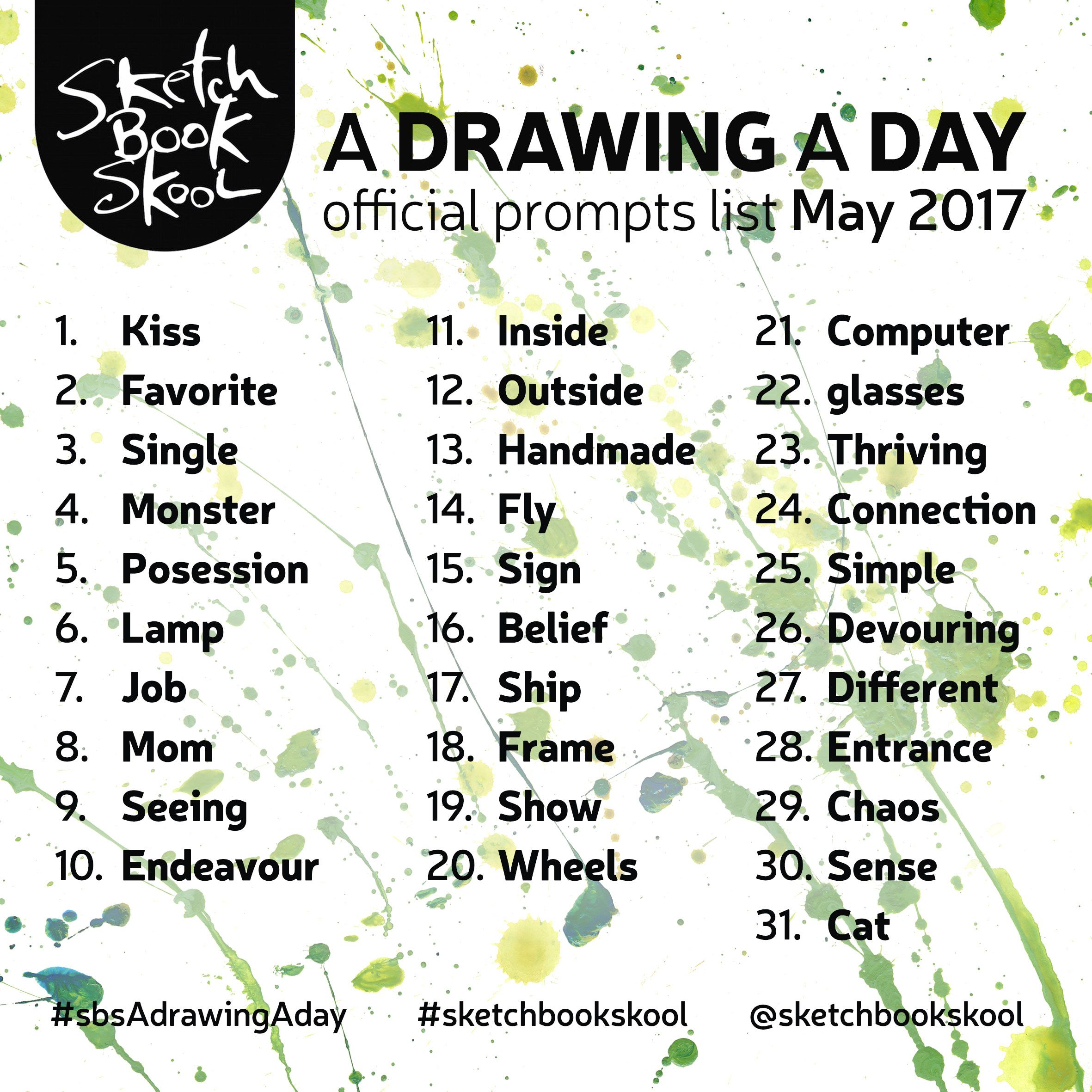 Here Are The Drawing A Day Challenge Prompts For The Month