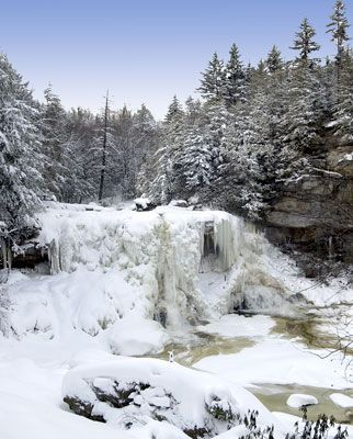 Blackwater Falls State Park In Winter WV.