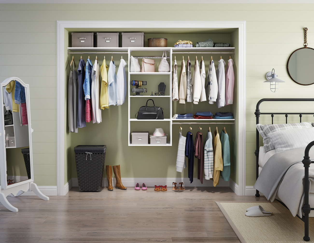 Create More Storage Space On The Closet Floor For Hampers And Shoe  Organizers With A Wall