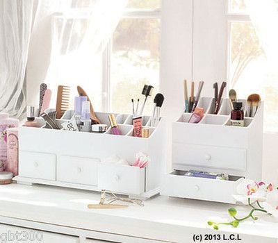 White Beauty Organizer in Stock 2 or 3 Drawer Makeup Jewelry Desk