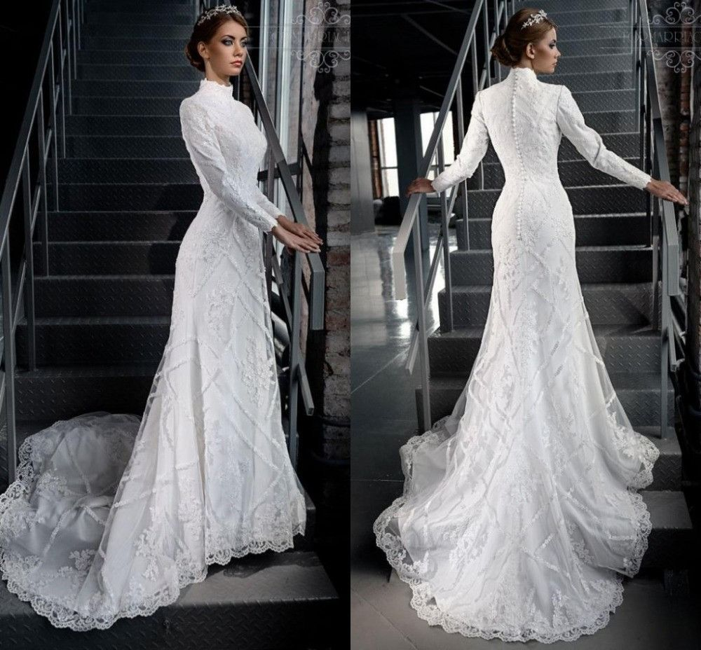 2ee02ef61d7 High Neck Gorgeous Modest White Lace Applique Beading Muslim Hijab Wedding  Dresses Long Sleeves Bridal Gown