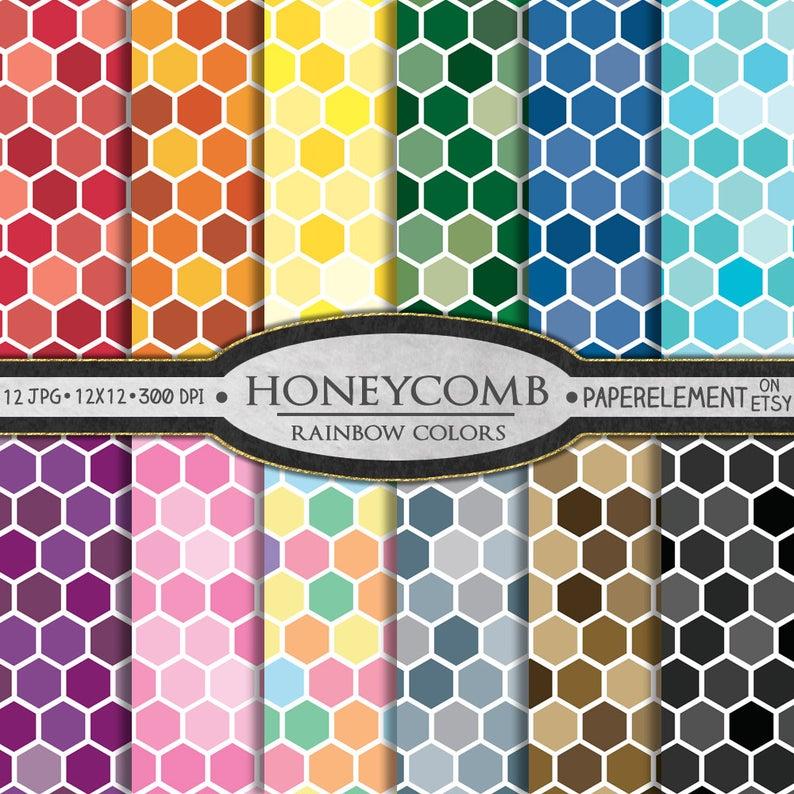 Honeycomb Digital Paper Honeycomb Patterns Printable Etsy Honeycomb Paper Printable Scrapbook Paper Digital Paper