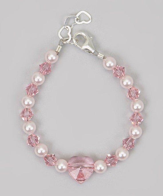 Swarovski rosa cristal Corazón bebé / niño, pulsera del niño ( BSFH )