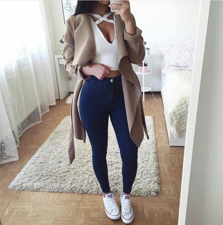 Outfit Crop White Coat Jeans Converse Or Idea Top Shirt xrR1xFqa