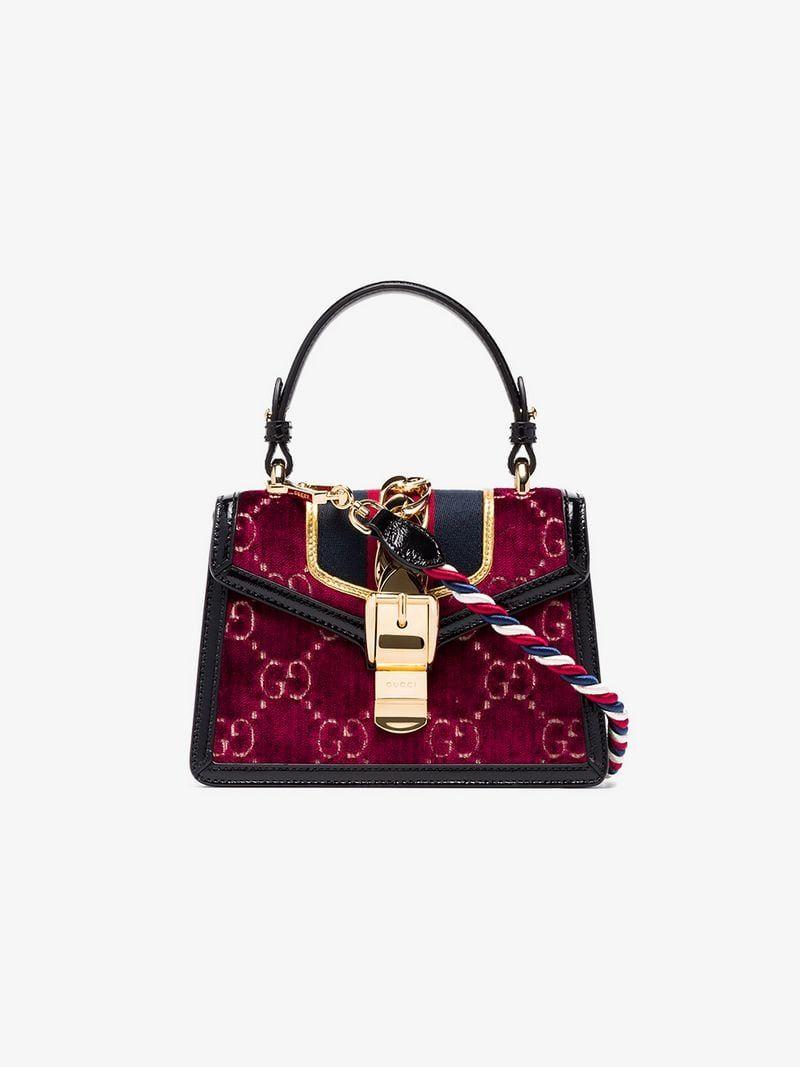 ceab527a935c GUCCI | Multicoloured Sylvie Mini Logo Velvet And Leather Shoulder Bag |  $3,198 | This multi-coloured Gucci Sylvie mini logo velvet and leather  shoulder bag ...