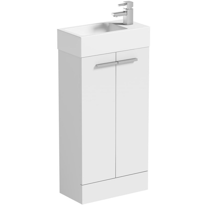 Clarity Compact White Cloakroom Suite With Contemporary Close