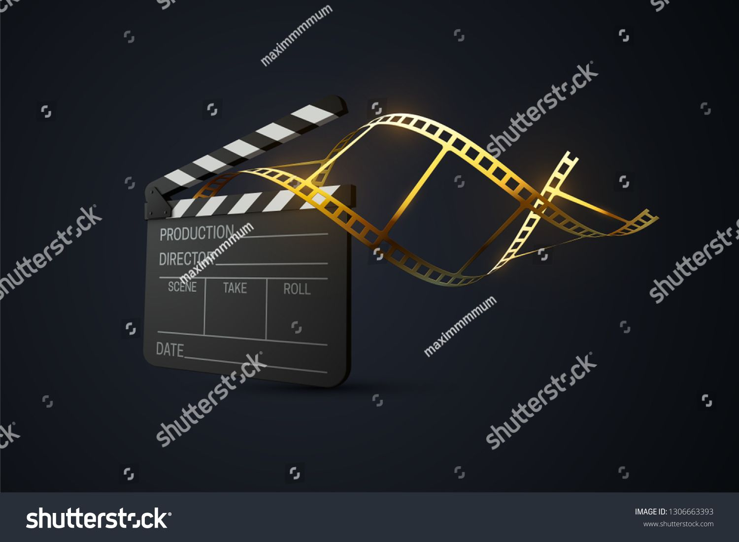 Film Clapperboard With Curled Golden Film Strip Cinema Production Or Media Industry Concept Vector 3d Illustration Film Strip Art Inspiration Painting Film