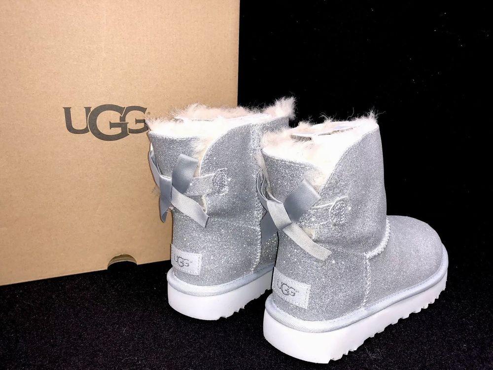5346171f102 UGG Australia Mini Bailey Bow Sparkle Silver BOOTS 1100053 Women s Glitter   UGGAustralia  AnkleBootsBooties