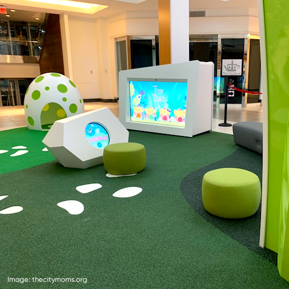 PLAY9 STUDIOS | Interactive Digital Installations for Kids. We don't just build playgrounds, we create award winning immersive worlds that turn play facilities into retail experiences the whole family can enjoy.  See more at www.play9studios.com #playgrounds #spatialdesign #gooddesign #playgrounddesign