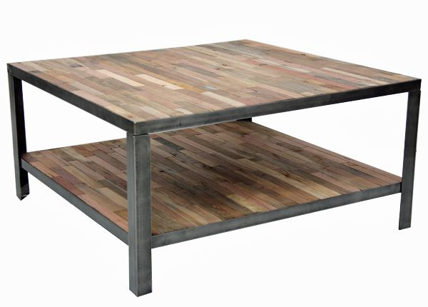 Reclaimed Fishing Boat Wood Square Coffee Table With Lower Shelf Frame Is Steel Angle Iron