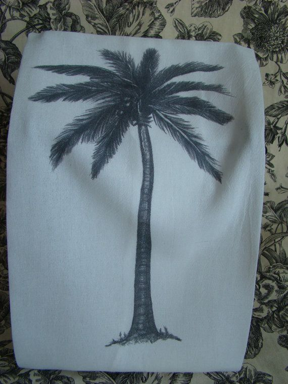 Palm tree Kitchen tea towel - custom printed from my ...