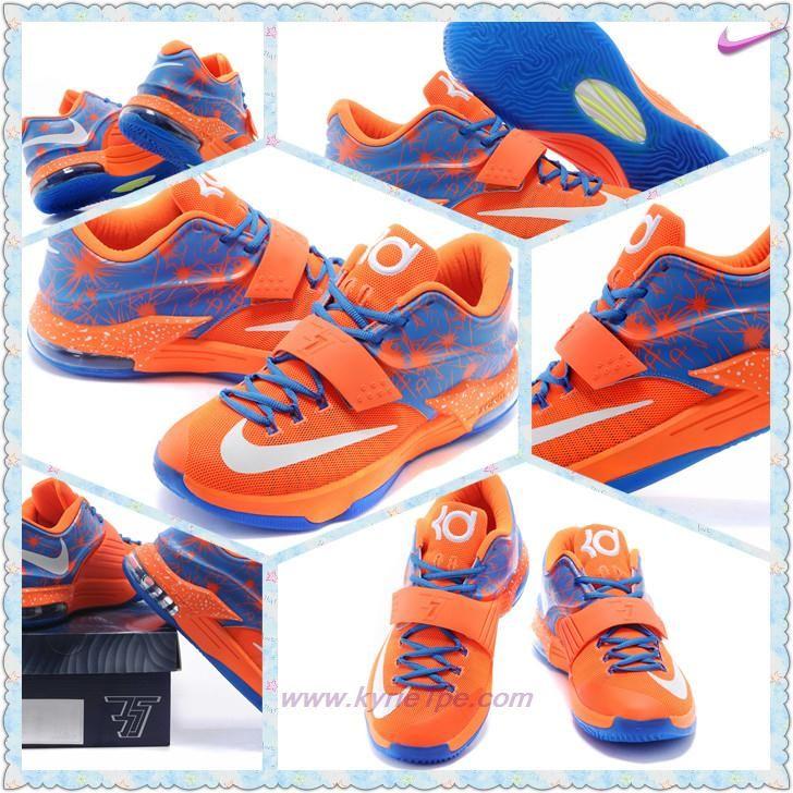 low priced cd949 8a3eb negozi di scarpe Uomo Arancione Blu Bianco Nike KD VII KDVII-016
