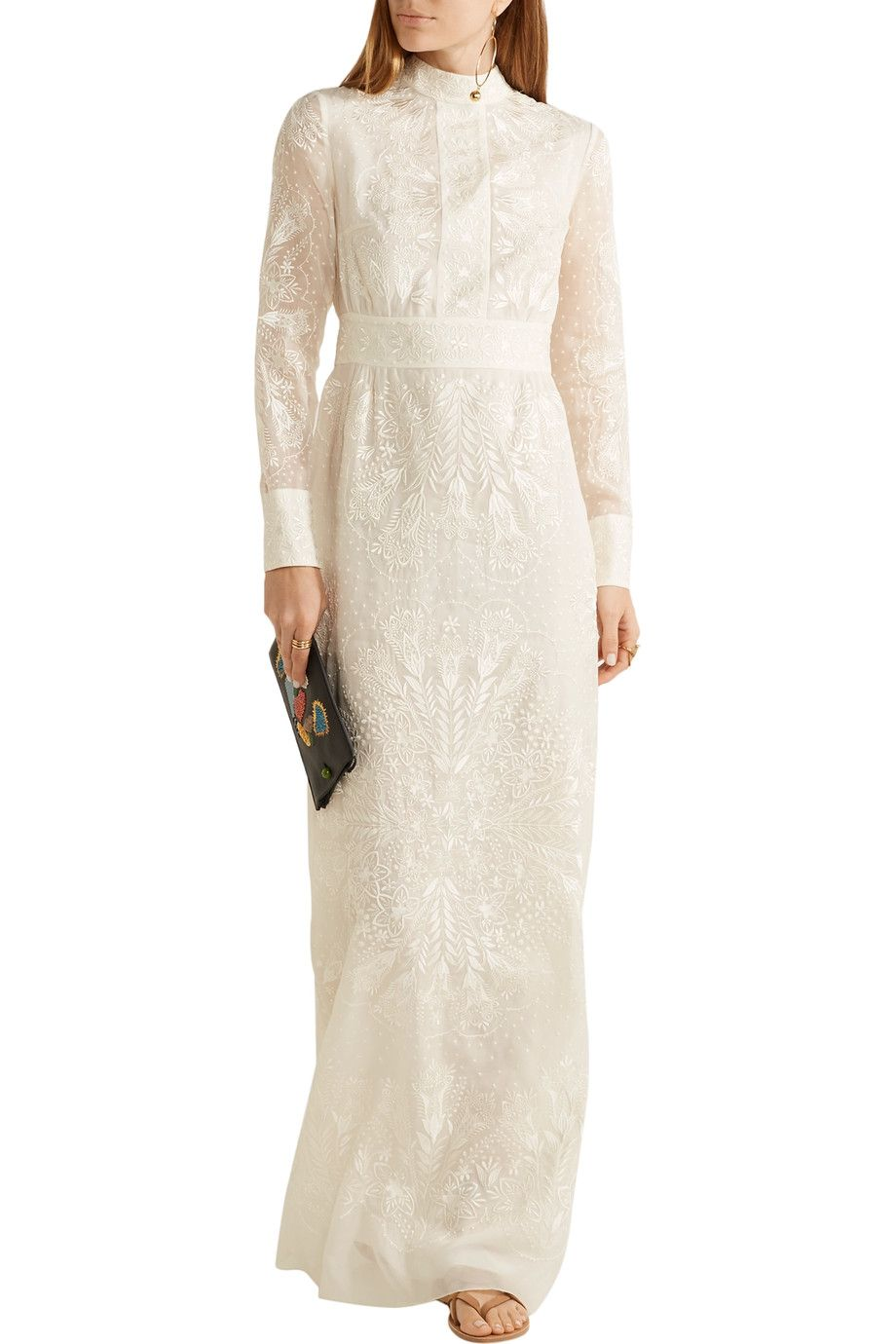 Shop on-sale Vilshenko Kelly embroidered silk maxi dress. Browse ...