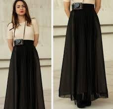 3e0d60117b Resultado de imagen para falda larga plisada negra Faldas Largas Plisadas