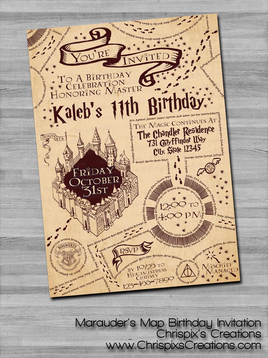 Harry Potter Marauders Map Birthday Invitation  Harry potter
