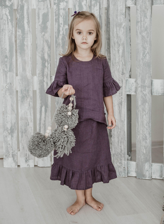 Linen girls skirtpurple linen girl skirtlinen skirt for girlslong