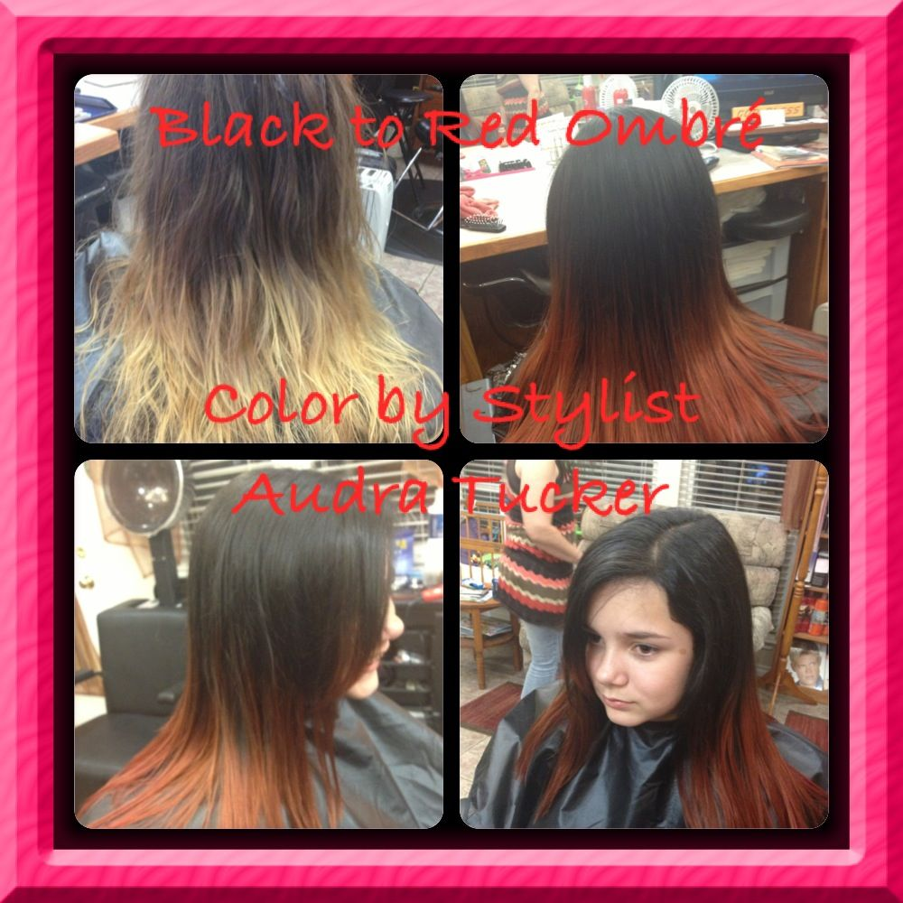 Black to red ombré color cut u hair style by stylist audra tucker