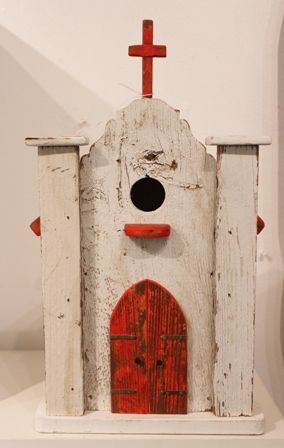 Birdhouse White Church With Red Roof C6 Bird House