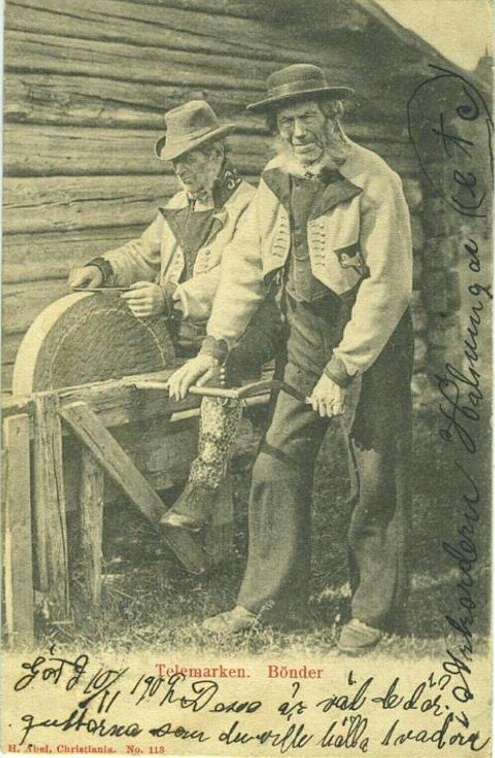 Telemark fylke Bønder i arbeid.  Brukt 1902 Utg Abels kunstforlag