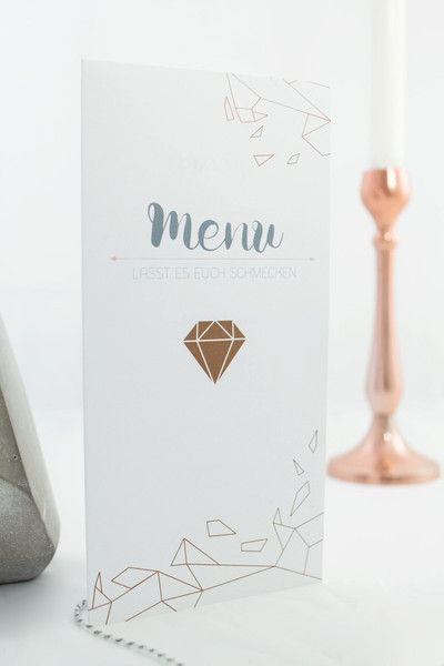 Hochzeitskarten Menukarte Kupfer Diamant Ein Designerstuck Von