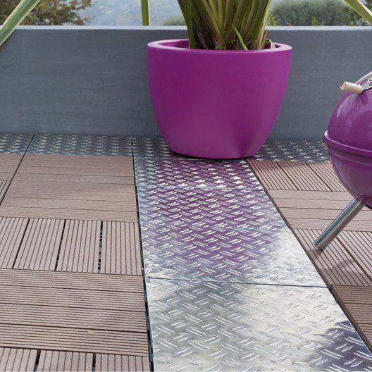 Dalle clipsable SNAP AND GO en aluminium gris, L 30 x l 30 cm x Ep