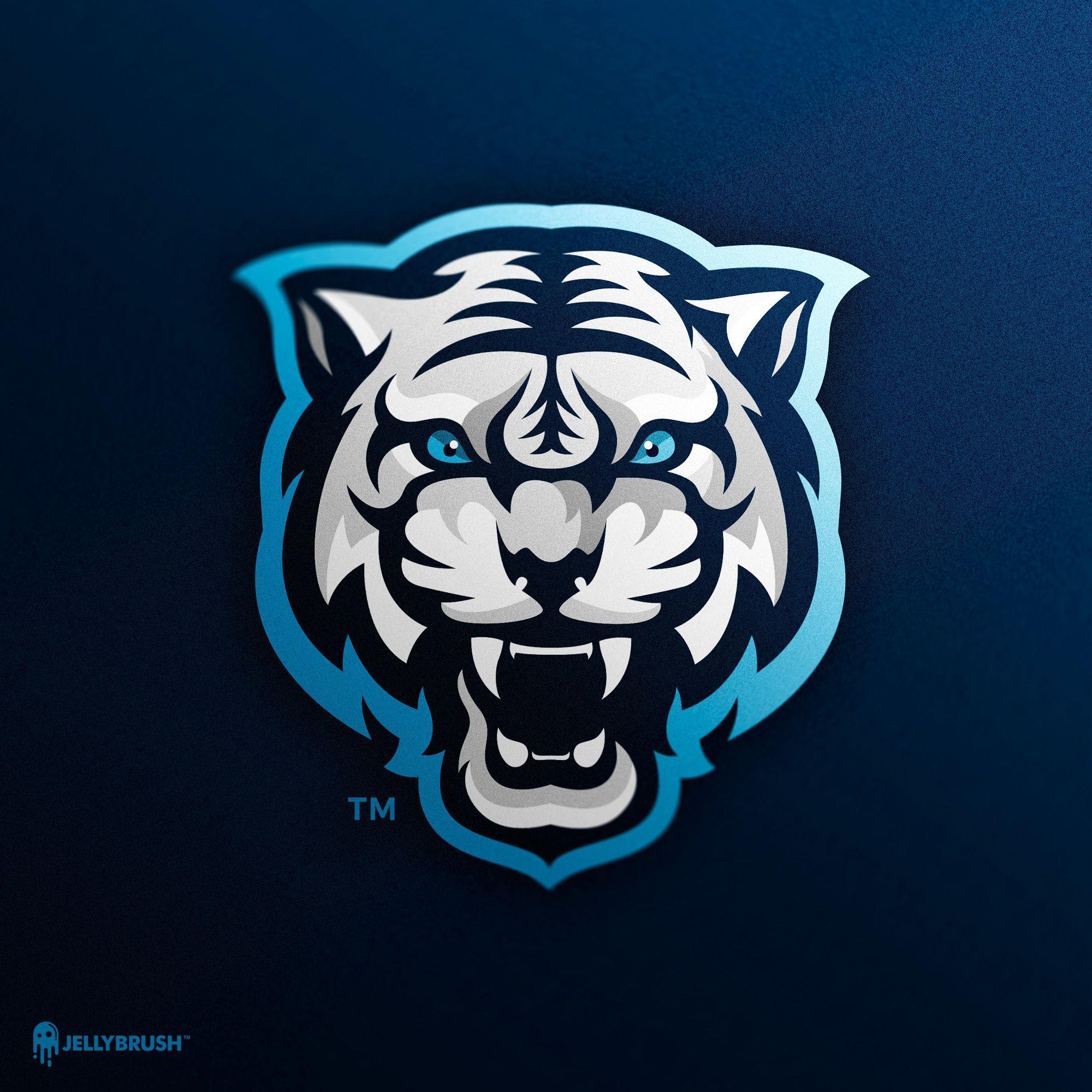 White Tiger Mascot Logo Ilustrasi Karakter Gambar Serigala Logo Keren
