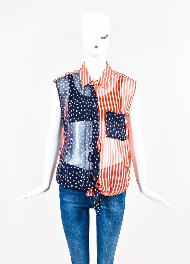 "Equipment Red, White, and Blue Silk Chiffon Flag ""Diem Tie Front"" Sleeveless Blouse"