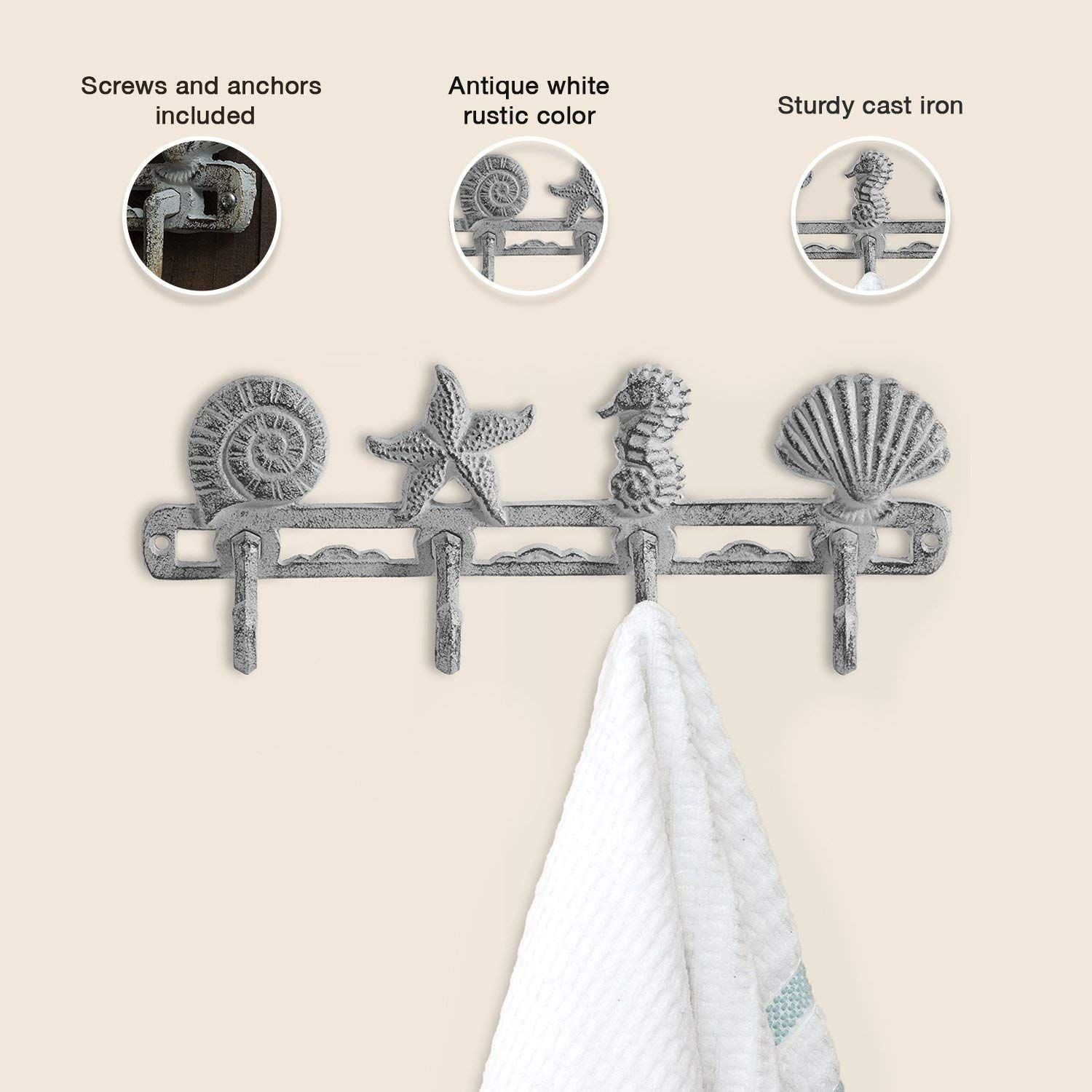 Comfify Vintage Seashell Coat Hook Hanger Rustic Cast Iron Wall Hanger W 4 Decorative Hooks Includes Scre Decorative Wall Hooks Wall Hanger Decorative Hooks