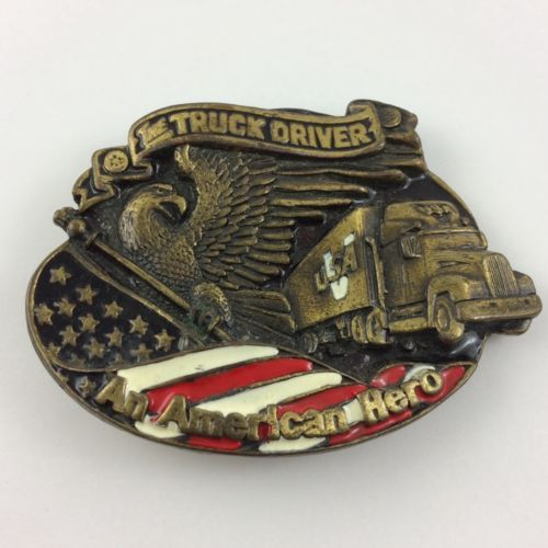 Truck-Driver-Belt-Buckle-American-Flag-Eagle-Big-Rig-Metal-Enamel-Patriotic-USA