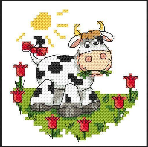 En sød broderet ko. A sweet embr cow.  from: http://www.en.coricamo.com/set,93612,cow.htm
