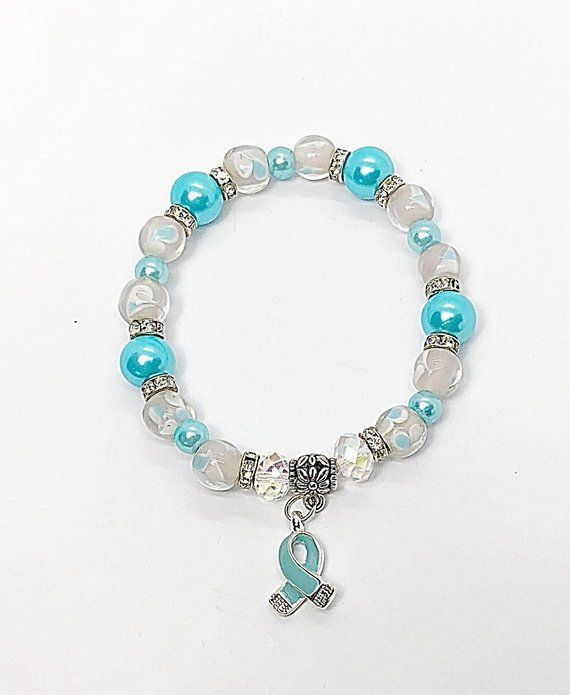 Prostate Cancer Awareness Bracelet Remembrance Jewelry Light Blue Ri