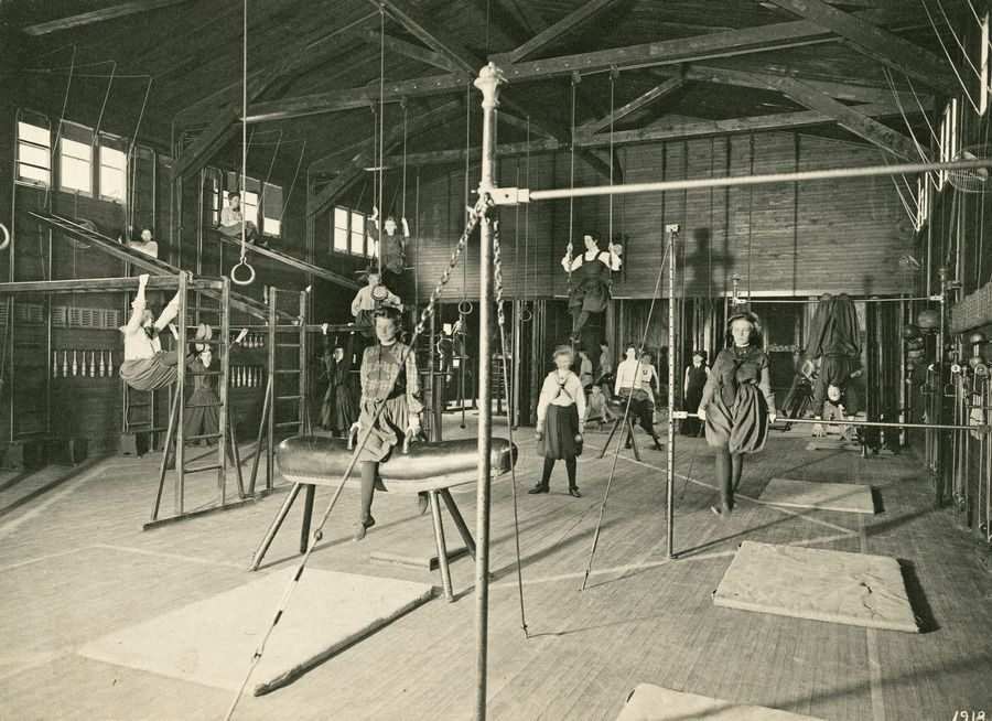 Girls working it out at the gym c1900 university of