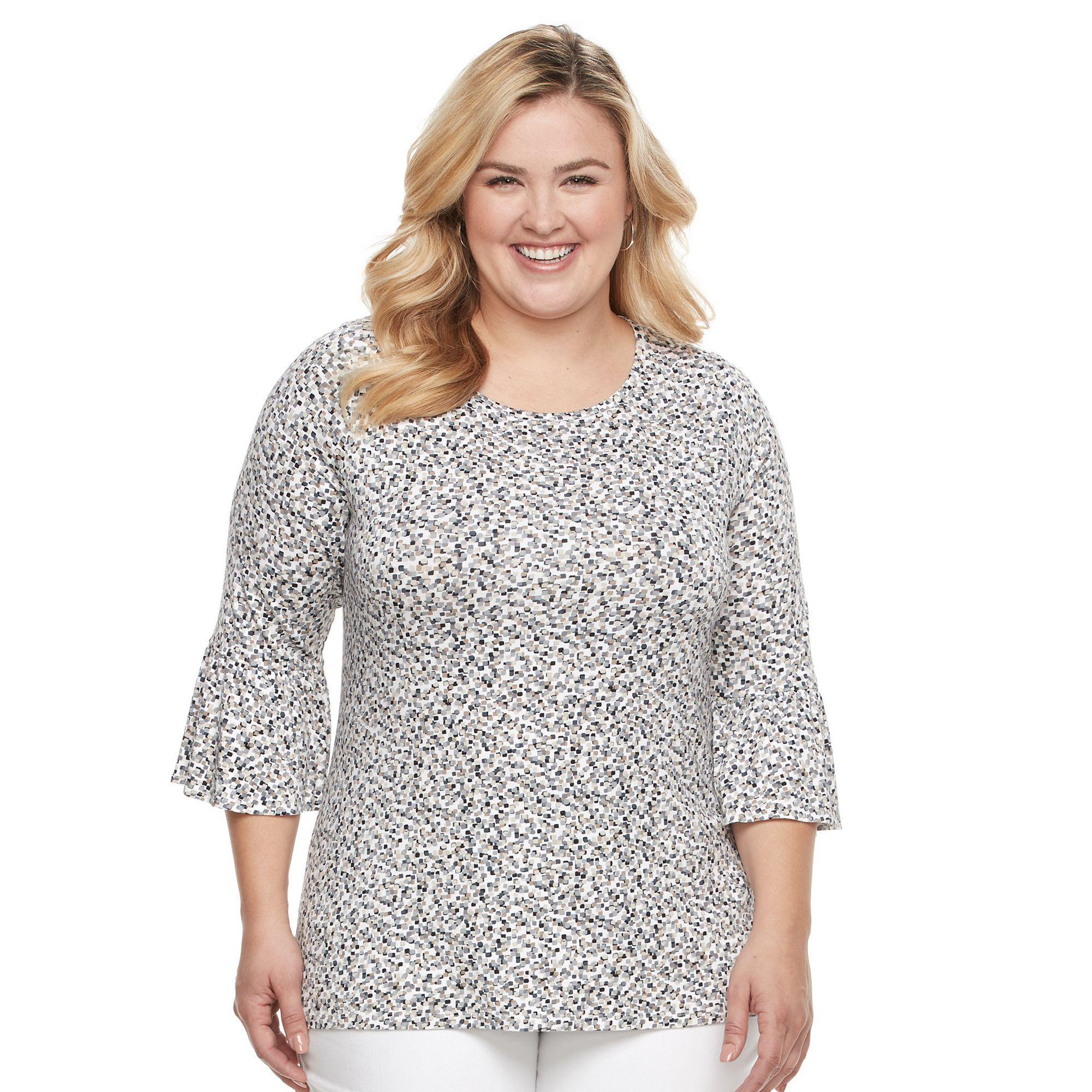 Plus Size Croft & Barrow® Bell Sleeve Peasant Top, Women's, Size: 3XL, Med Beige