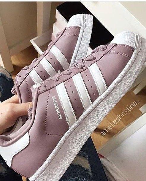 bc19398996b9 shoes adidas instagram superstar kylie jenner kardashians purple pastel pink  white adidas superstars pastel adidas shoes light purple low top sneakers  mauve ...