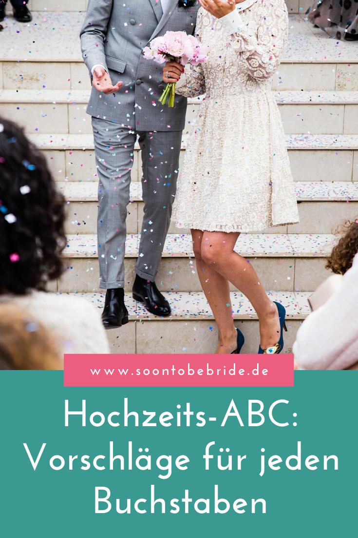 Hochzeits-ABC: Vorschläge für jeden Buchstaben