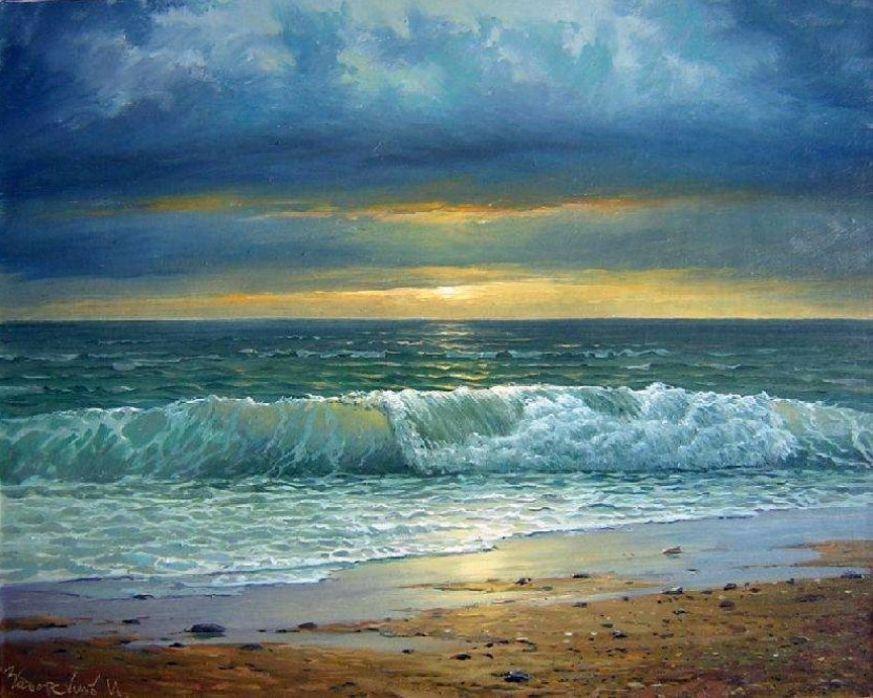 yz- Zaborskikh, Igor (b,1961)- Wave Breaking on Beach