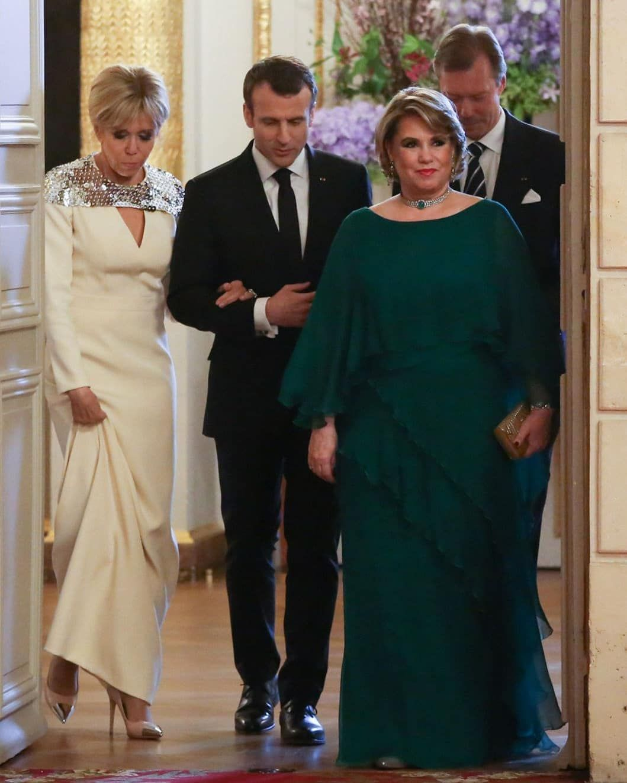 Gran Duke Henri Gran Duchess Maria Teresa President Emmanuel Macron And The First Lady Brigitte Macron