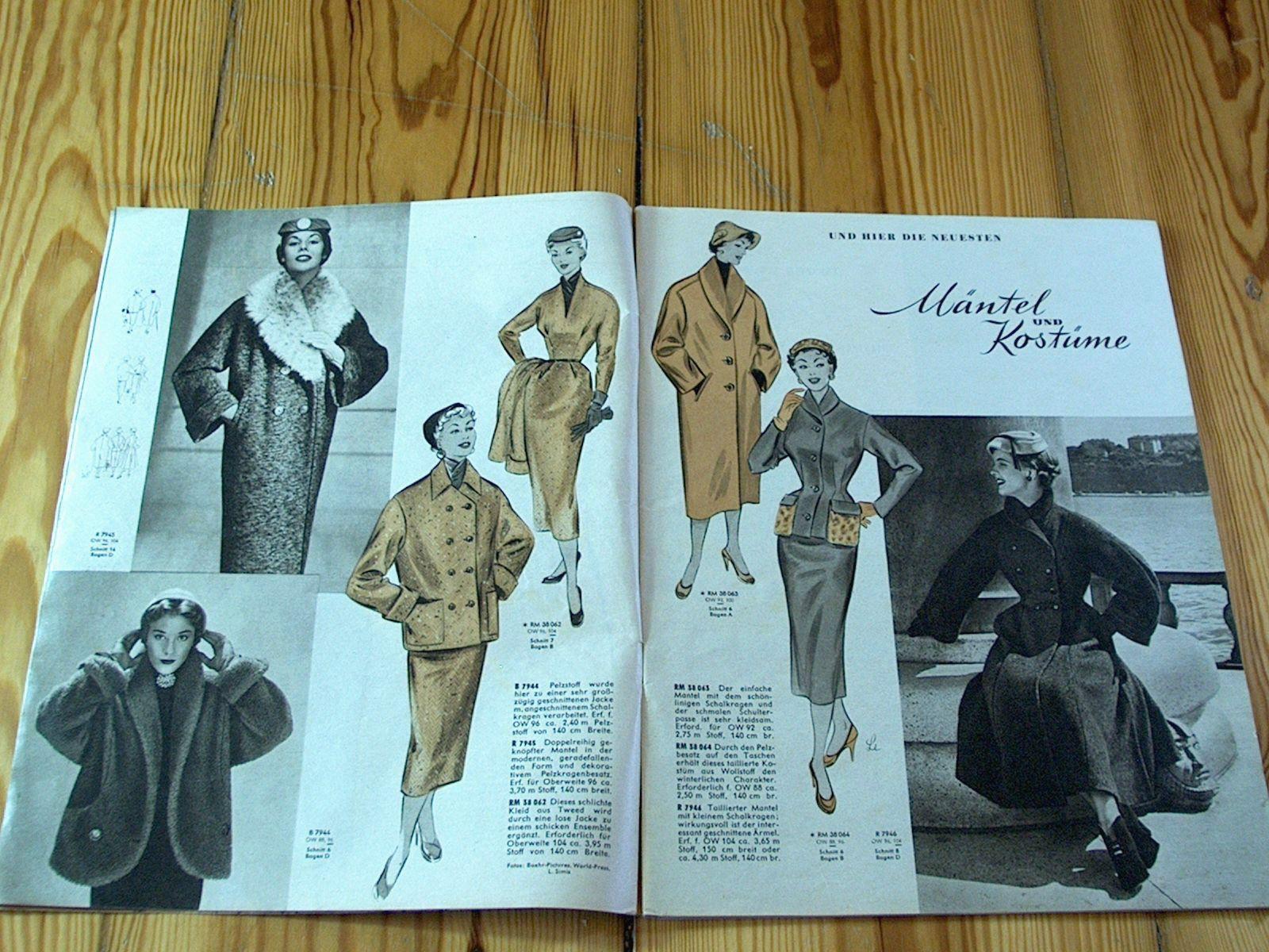 Modezeitschrift DER NEUE SCHNITT 10/1954-2 Schnittmuster-Bg 50er Jahre Tanzkleid   eBay