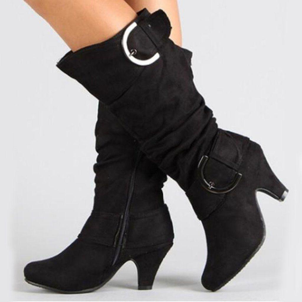 Women S Autumn High Heels Boots With Buckles Plus Size Kitten Heel Boots High Heel Boots Boots